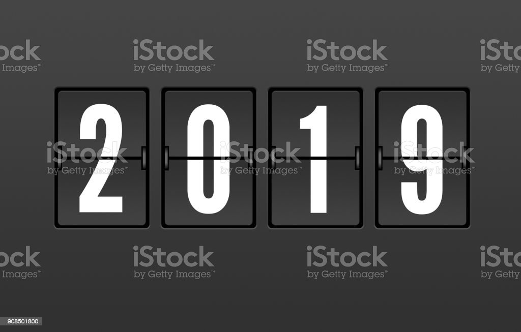Year 2019 On The Splitflap Display Stock Photo - Download Image Now