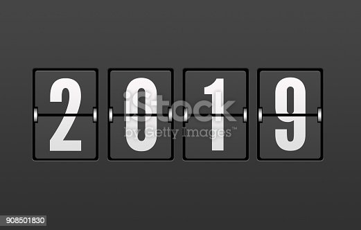 istock Year 2019 on the Split-Flap Display 908501830