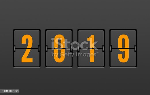 istock Year 2019 on the Split-Flap Display 908910138