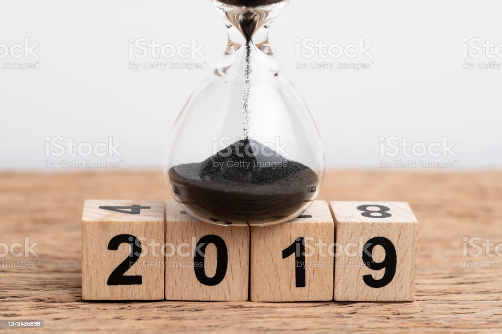 Year 2019 time running or countdown concept, Closed up of sand...