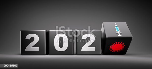 New year 2020 change to 2021 concept - changing cube with coronavirus and syringe icon - 3D illustration