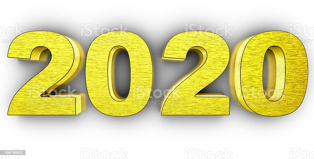 Year 2020 in golden 3d number in white background stock photo