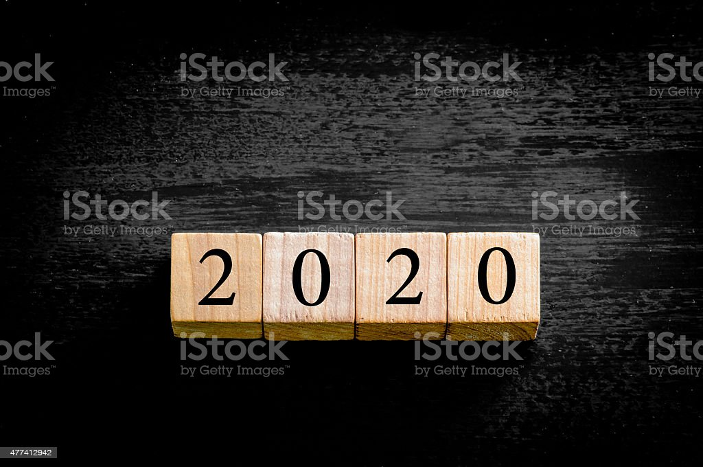 Year 2020 isolated on black background with copy space stock photo