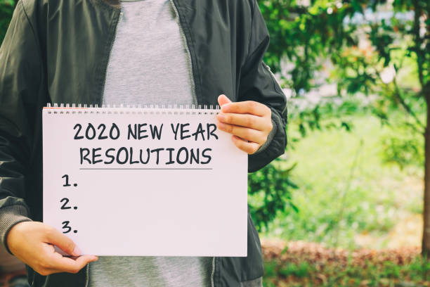 Year 2020 New Year Resolution Year 2020 New Year Resolution conceptual image new years day stock pictures, royalty-free photos & images