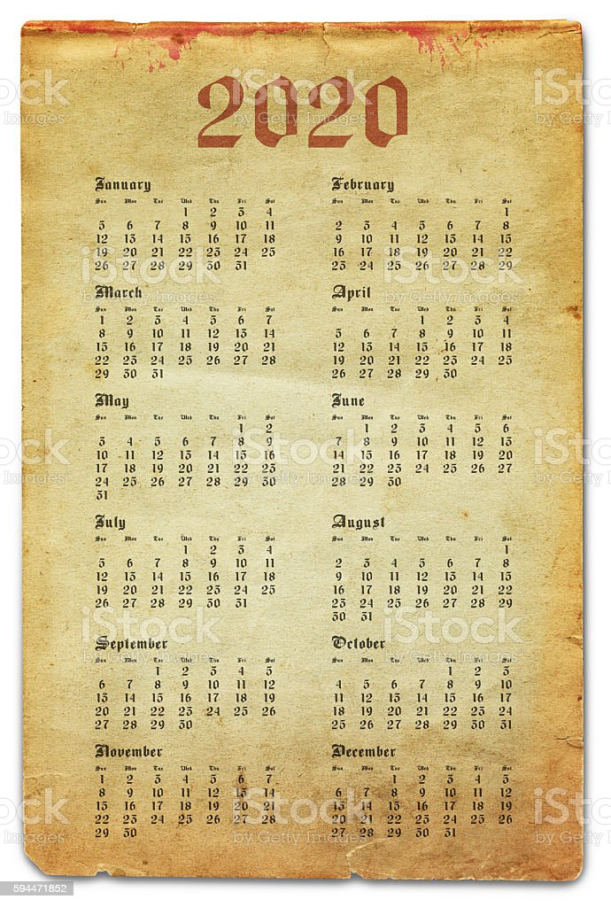 Year 2020 - Old Paper Calendar stock photo