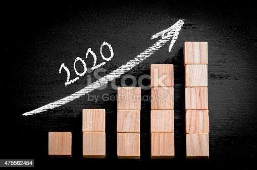 istock Year 2020 on ascending arrow above bar graph 475562454