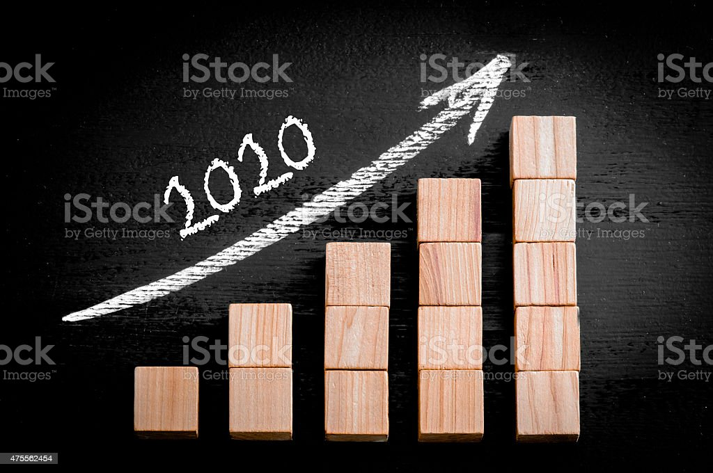 Year 2020 on ascending arrow above bar graph stock photo