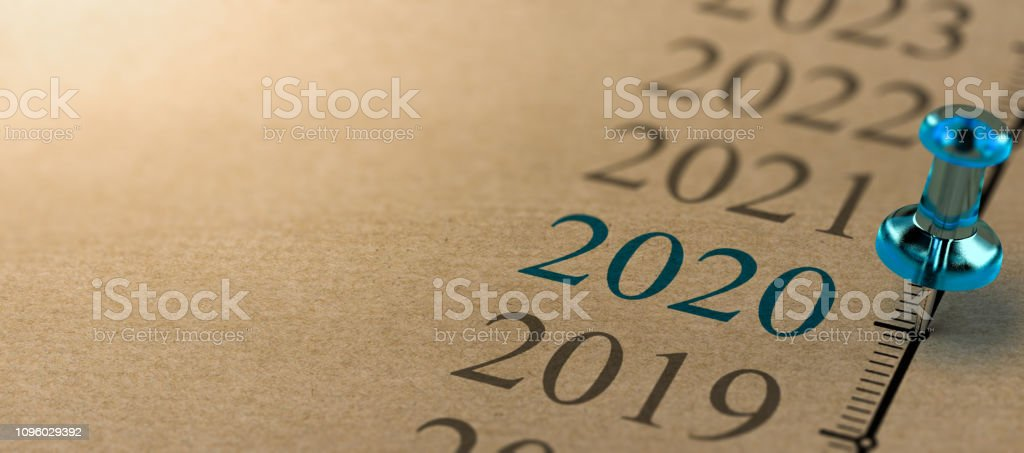 Year 2020, Two Thousand And Twenty Timeline - Стоковые фото 2020 роялти-фри