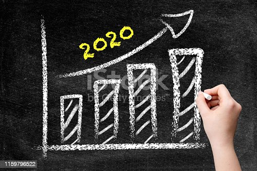 istock Year 2020 with ascending arrow and bar graph on blackboard 1159796522