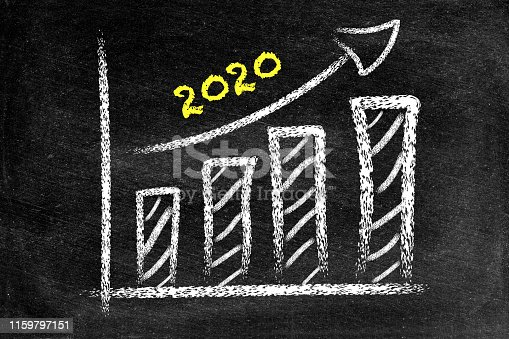 istock Year 2020 with ascending arrow and bar graph on blackboard 1159797151
