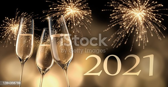 2020 - New year composition with champagne glasses and fireworks - 3D illustration