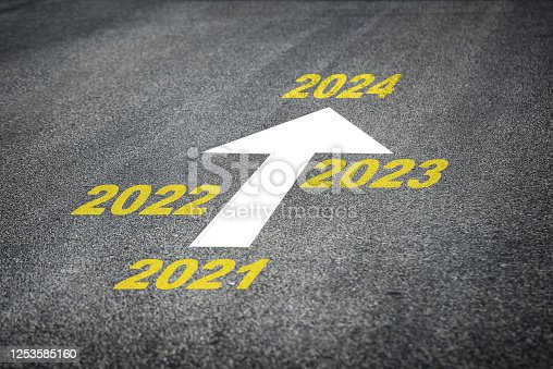 1081389658 istock photo Year 2021 to 2024 and white arrow marking on road surface 1253585160