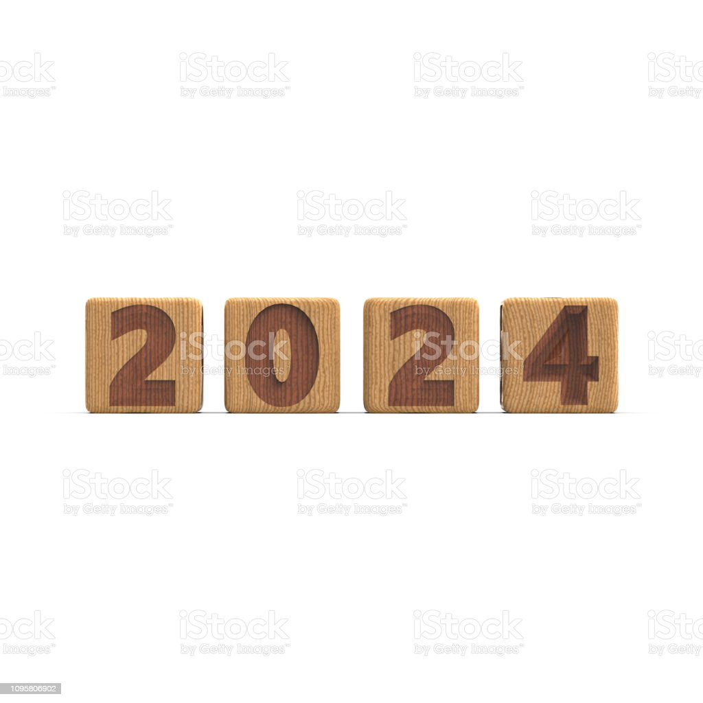 Year 2024 Sign On In Pure White Background Stock Photo