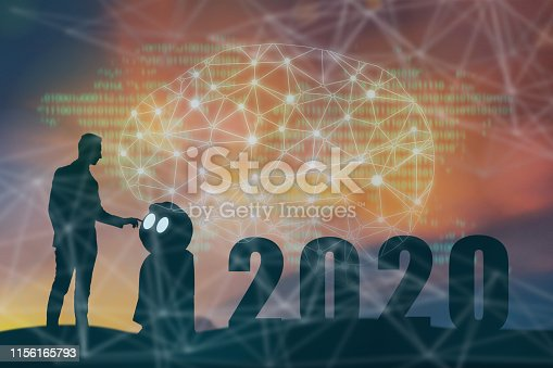 1042088340 istock photo 2020 year artificial intelligence or ai futuristic concept, Silhouette  Business man stand and point hand to command or control assistant robot, industry 4.0 trend of automation robot in 2020 future 1156165793