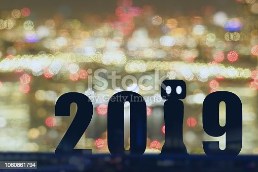 1042088340 istock photo 2019 year artificial intelligence or ai futuristic concept, Silhouette  assistant robot, industry 4.0 trend of automation robot in 2019 future 1060861794