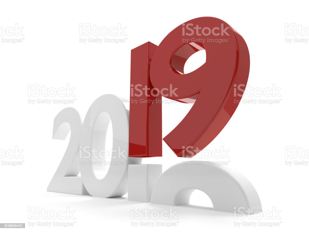 2019 year bold 3d rendering stock photo