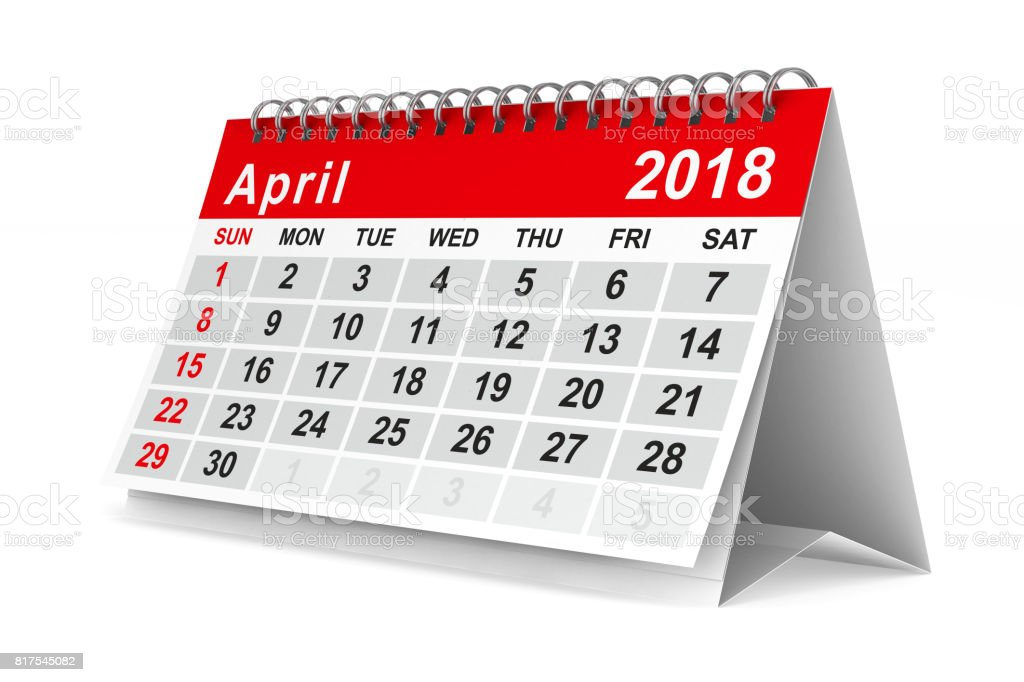 2018 year calendar. April. Isolated 3D illustration stock photo