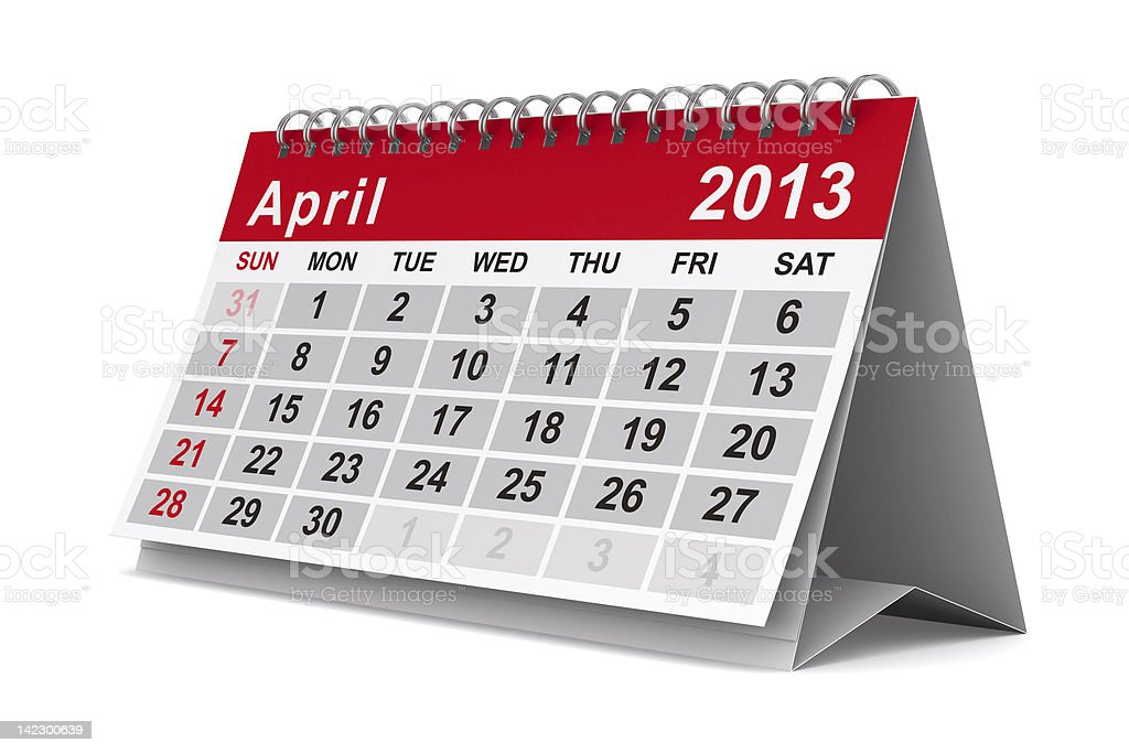2013 year calendar. April. Isolated 3D image stock photo