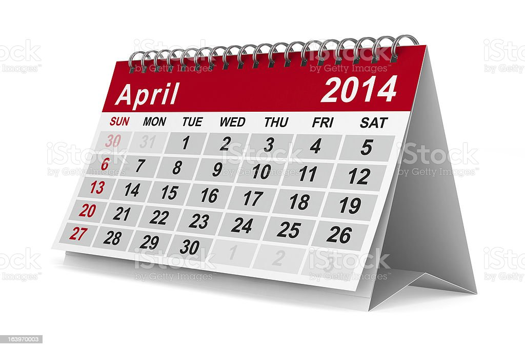 2014 year calendar. April. Isolated 3D image royalty-free stock photo