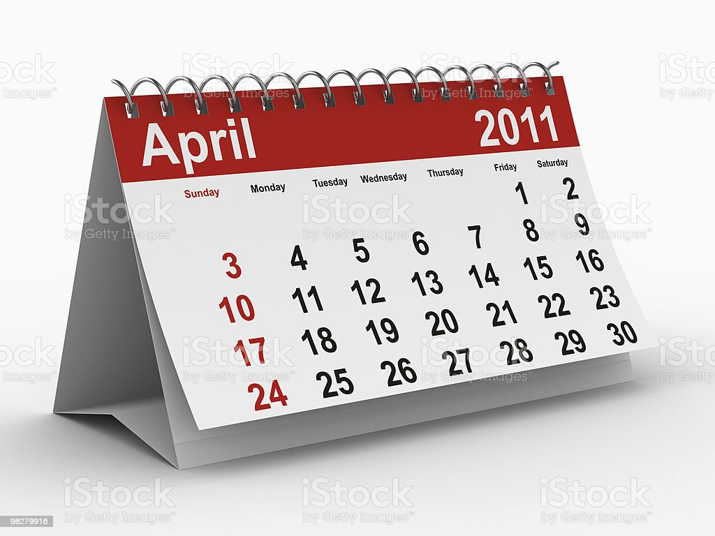 2011 year calendar. April. Isolated 3D image royalty-free stock photo