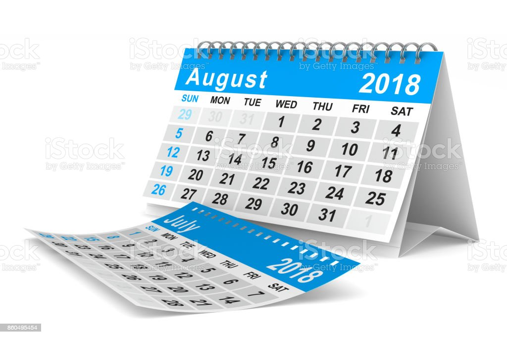 2018 year calendar. August. Isolated 3D illustration - foto stock