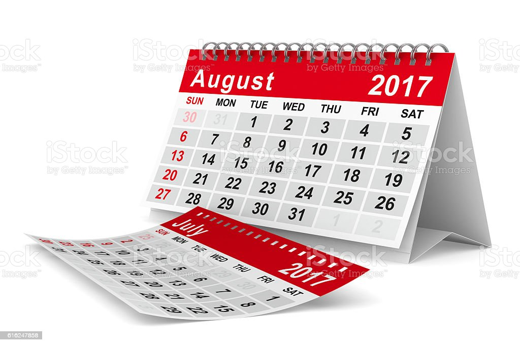 2017 year calendar. August. Isolated 3D image stock photo