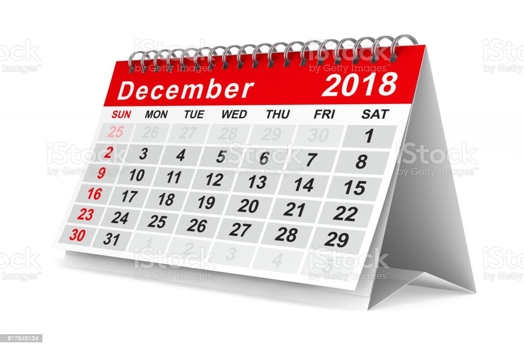 2018 year calendar. December. Isolated 3D illustration