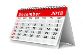istock 2018 year calendar. December. Isolated 3D illustration 817545134