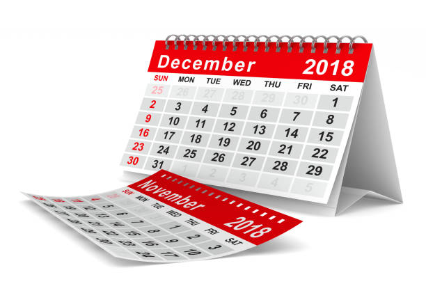 2018 year calendar. December. Isolated 3D illustration stock photo