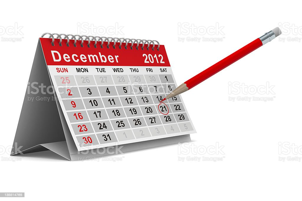 2012 year calendar. December. Isolated 3D image stock photo
