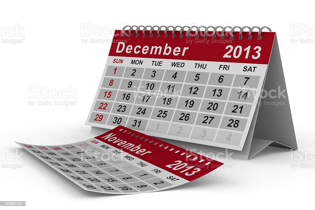 2013 year calendar. December. Isolated 3D image stock photo