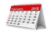 istock 2018 year calendar. February. Isolated 3D illustration 817545078