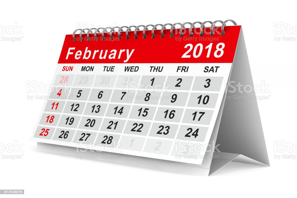 2018 year calendar. February. Isolated 3D illustration stock photo