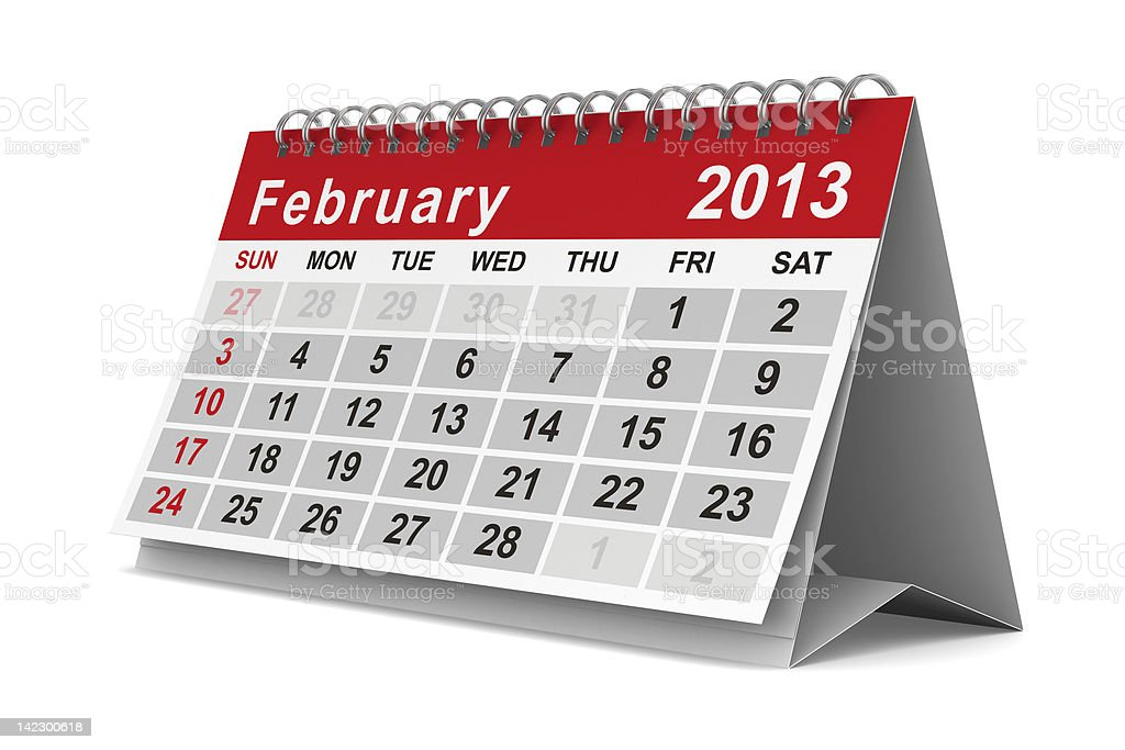 2013 year calendar february isolated 3d image stock photo more