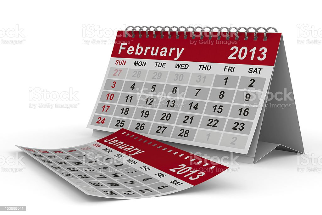 2013 year calendar. February. Isolated 3D image royalty-free stock photo