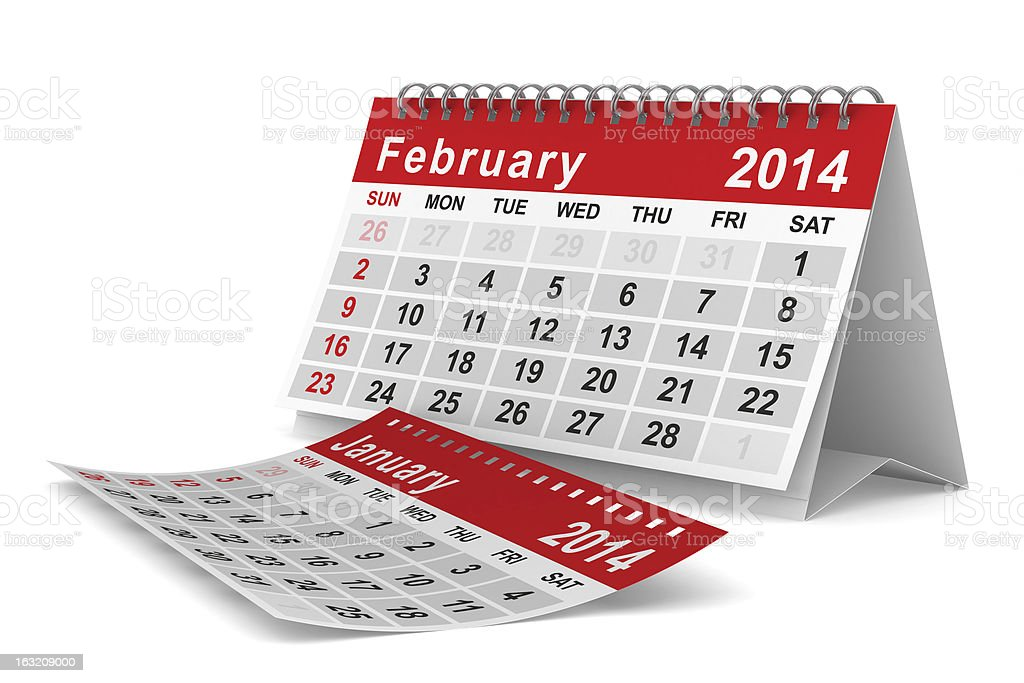 2014 year calendar. February. Isolated 3D image royalty-free stock photo