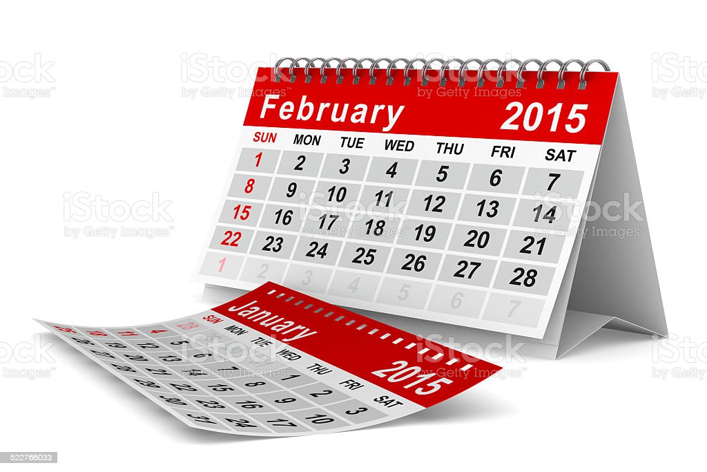 2015 year calendar. February. Isolated 3D image stock photo