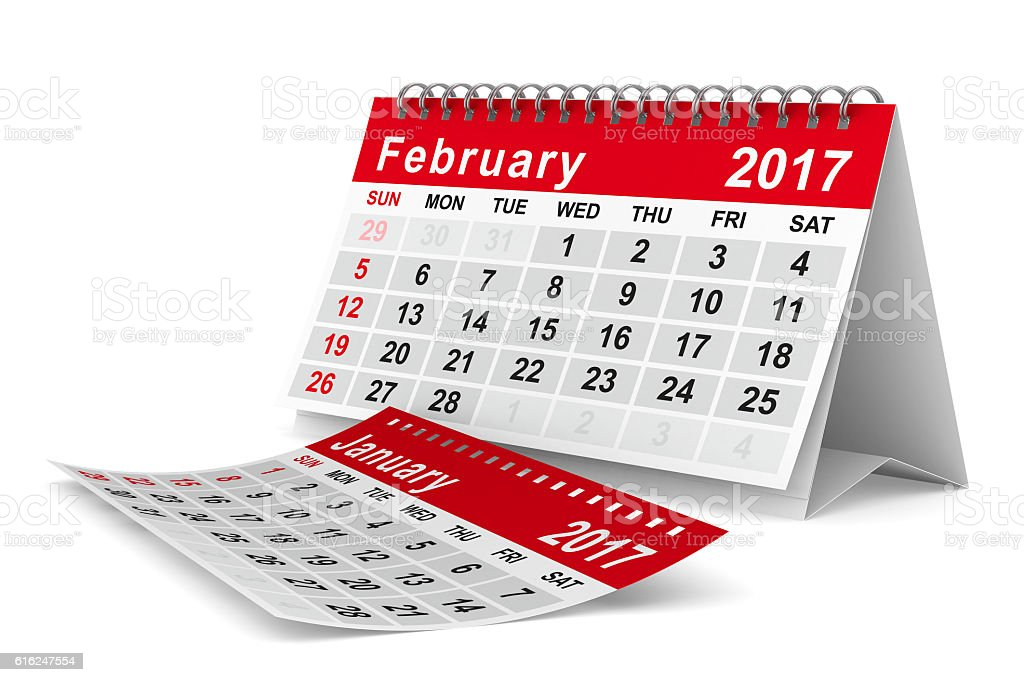 2017 year calendar. February. Isolated 3D image stock photo