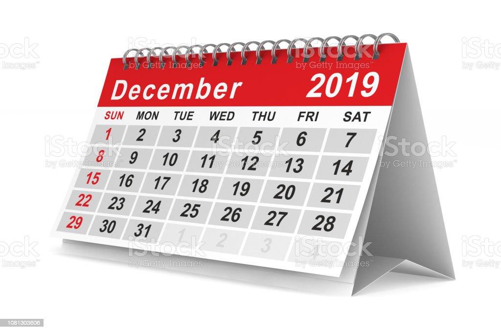 2019 jaar. Kalender voor December. Geïsoleerde 3D illustratie - Royalty-free 2019 Stockfoto