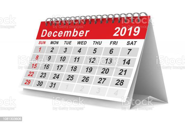 2019 Jaar Kalender Voor December Geïsoleerde 3d Illustratie Stockfoto en meer beelden van 2019