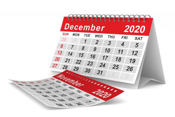 2020 jaar. kalender voor december. geïsoleerde 3d illustratie - december stockfoto's en -beelden