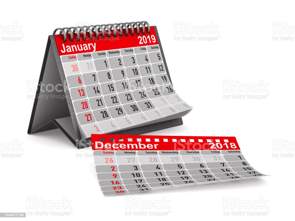 2019 Jahr. Kalender für den Monat Januar. Isolierte 3D-Illustration – Foto