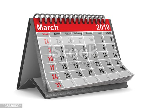 923430302 istock photo 2019 year. Calendar for March. Isolated 3D illustration 1035366024