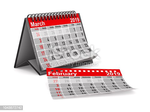 istock 2019 year. Calendar for March. Isolated 3D illustration 1043572742