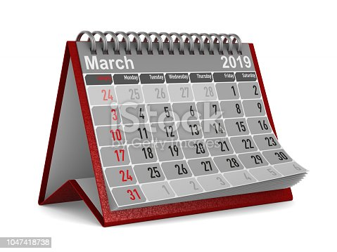 istock 2019 year. Calendar for March. Isolated 3D illustration 1047418738