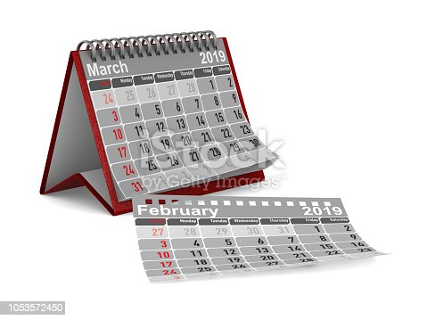 istock 2019 year. Calendar for March. Isolated 3D illustration 1053572450