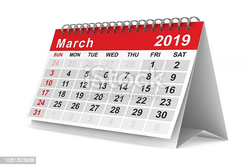 istock 2019 year. Calendar for March. Isolated 3D illustration 1081303636