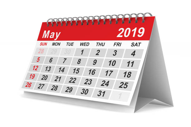 2019 year. Calendar for May. Isolated 3D illustration stock photo