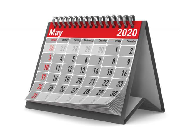 2020 år. kalender för maj. isolerad 3d-illustration - maj bildbanksfoton och bilder