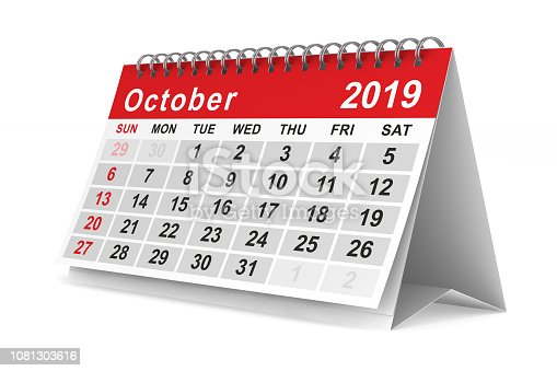 2019 year. Calendar for October. Isolated 3D illustration
